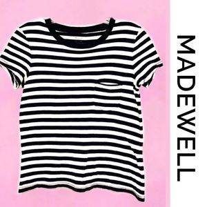 MADEWELL Black/White Stripe Cropped Tee XXS